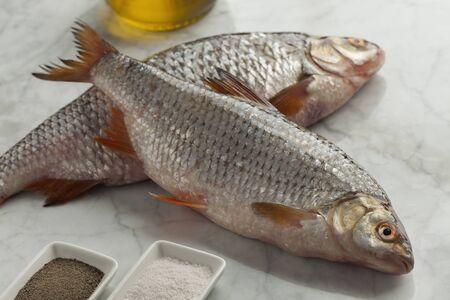 rutilus: Fresh raw common roach fishes Stock Photo
