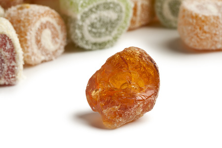 Piece of Gum arabic with turkish delight in the background