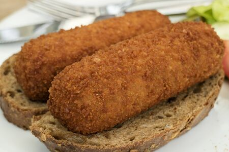 croquettes: Traditional dutch lunch with deep fried croquettes