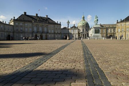 frederik: Square of Amalien palace or amalienborg in Copenhagen, Denmark