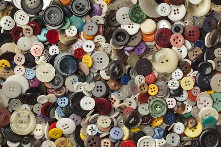 full frame: Collection of colorful sewing buttons full frame