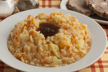 Dish with traditional dutch stew, meat and gravy
