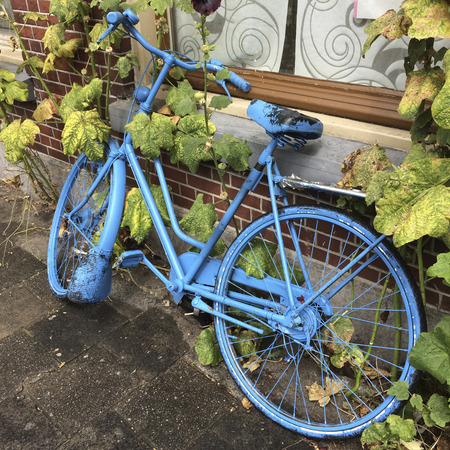 identifiable: Blue painted bicycle standing under a window