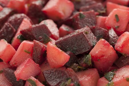 full frame: Moroccan salad with beets and potatoes close up full frame Stock Photo