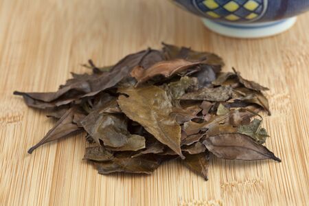 Mountain tea leaves of the Meiji, Japanese old style tea