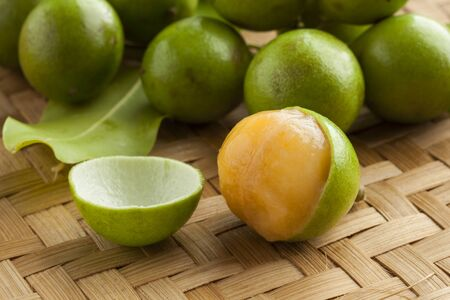 Fresh ripe peeled quenepa fruit