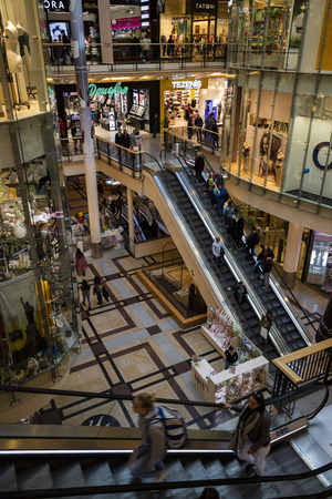 Prague, Czech Republic - October 7, 2017: Escalators in the Palladium Shopping Mall in Prague in Czech Republic