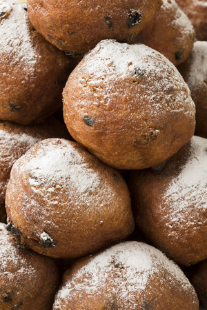 Heap of oliebollen, close up, full frame traditional Dutch pastry for New Years Eve   Stock Photo