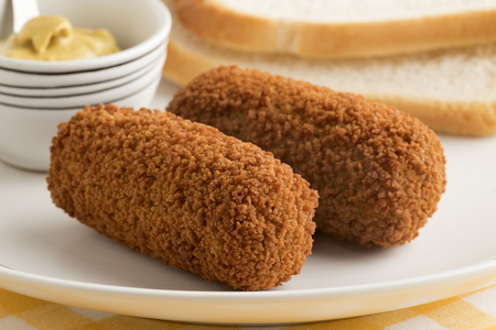 Deep fried Dutch kroketten and mustard for lunch