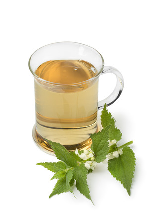 Glass of fresh healthy white dead nettle tea decorated with flowers isolated on white background