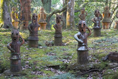 Miyazaki, Japan - November 5, 2018:  Haniwa Garden in Heiwadai Park with earthenware replicas of burial statues found all over the country in Japan Editorial