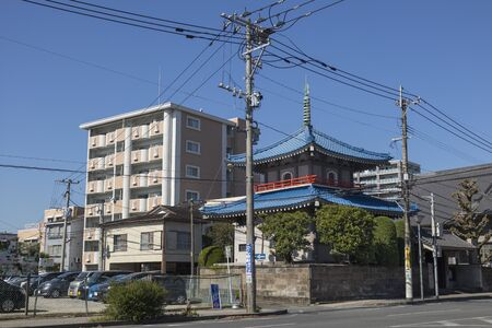 Miyazaki, Japan - November 7, 2018: Old and new architecture architecture in a street in Miyazaki city