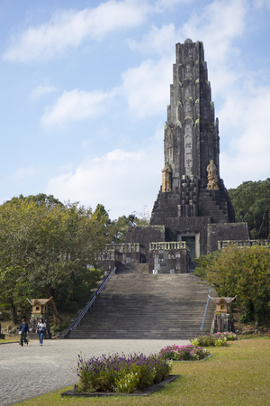 Miyazaki, Japan - November 5, 2018: Peace Tower, Heiwadainoto, a tower constructed of stones sent from all around Asia in Heiwadai Park, Miyazaki Editorial