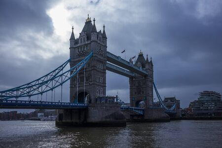 London, England - February 28, 2019, Famous Tower bridge over the river Thames with cloudy sky in winter