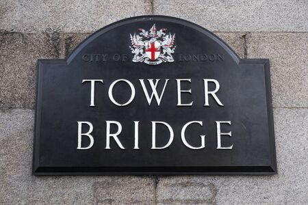 London, England - February 28, 2019: The Road Sign for Tower Bridge in London. Editorial
