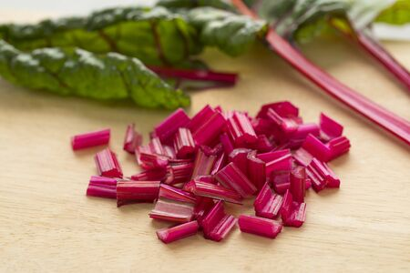 Red stemmed chard cut into pieces close up