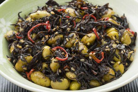 Traditional Japanese bowl with Hijiki seaweed and edamame beans salad