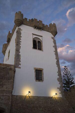 Al-Kamra tower in the medina of Asilah in North Morocco in twilight
