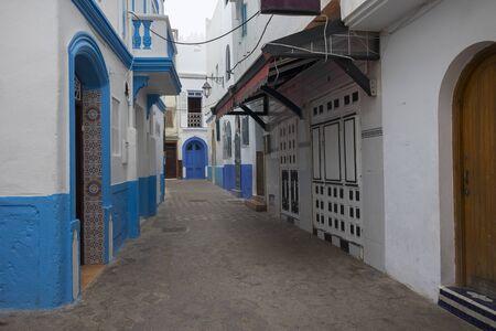 Narrow old street  in the medina of Asilah, Morocco