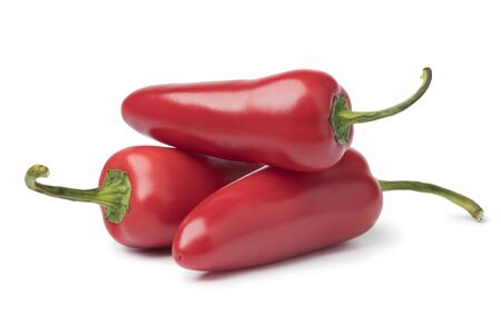 Fresh red Jalapeno peppers isolated on white background