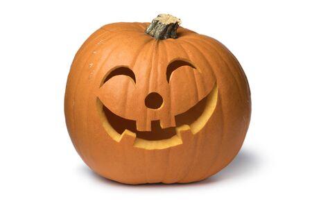 Orange kind smiling Halloween pumpkin isolated on white background