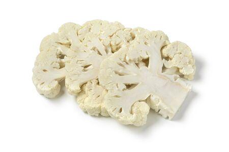 Slices of fresh raw cauliflower isolated on white background