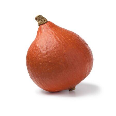 Single fresh orange Hokkaido pumpkin isolated on white background Фото со стока