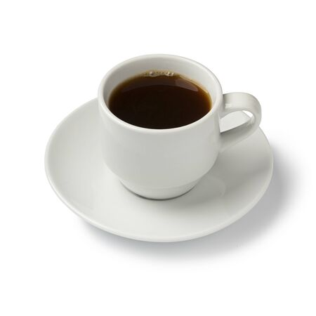 Cup of fresh black coffee isolated on white background