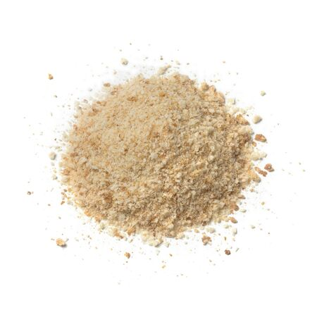 Heap of bread crumbs isolated on white background