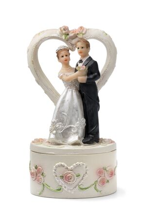 Bride and groom, vintage cake topper isolated on white background