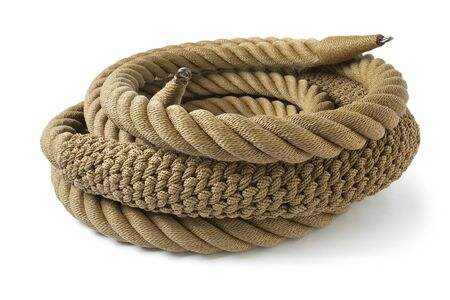 New handmade knotted rope ring with a bow pudding for a leisure boat isolated on white background