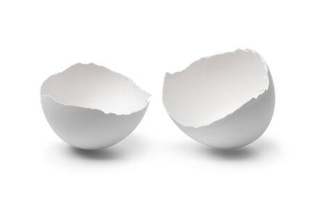 White broken egg shells close up isolated on white background