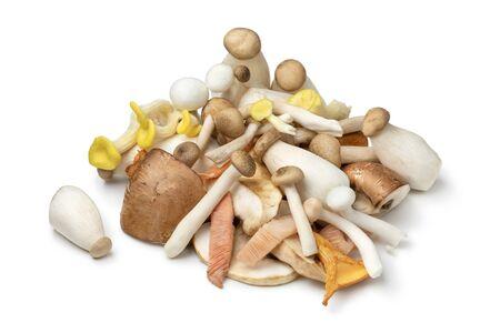 Mixture of fresh raw variation mushrooms isolated on white background Standard-Bild