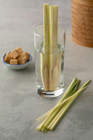 Drinking glass with fresh cold healthy lemongrass water