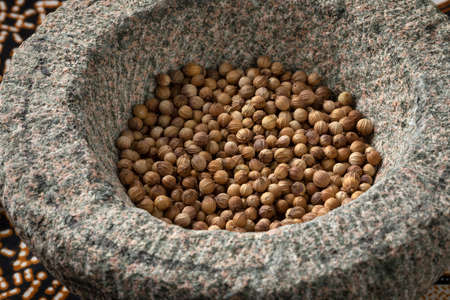 Dried coriander seeds in an Asian stone mortar close up