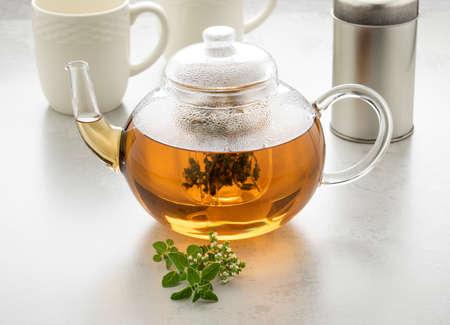 Glass teapot with oregano tea and a fresh twig of oregano in front Фото со стока