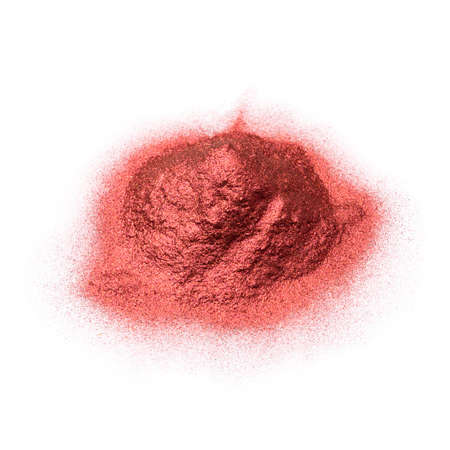 Heap of red powder pigment isolated on white background