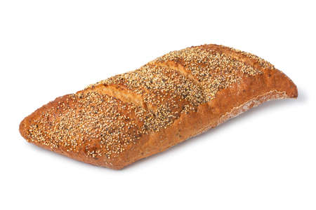 Whole traditional sourdough loaf of bread in a special shape with seeds isolated on white background