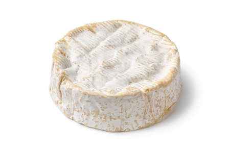 Traditional whole single French Camembert cheese isolated on white background
