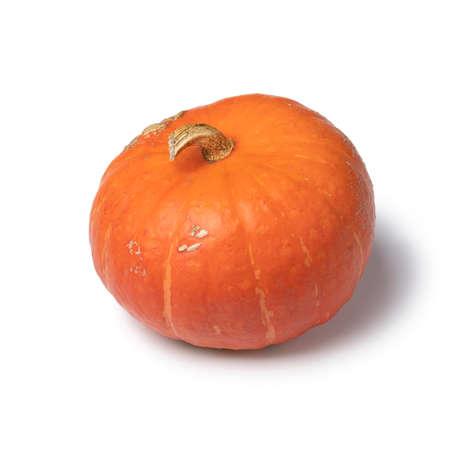 Single orange whole Hokkaido pumkin isolated on white background