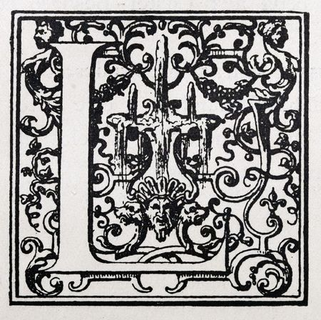 Decorative letter designed in the 19th century. Letter L.