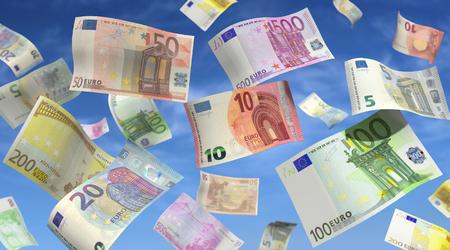 bills: Money rain from euro bills