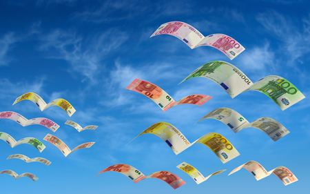 windfall: Bills flying in the sky