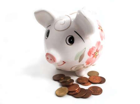 cobrar: Hucha para recoger sus ahorros en blanco