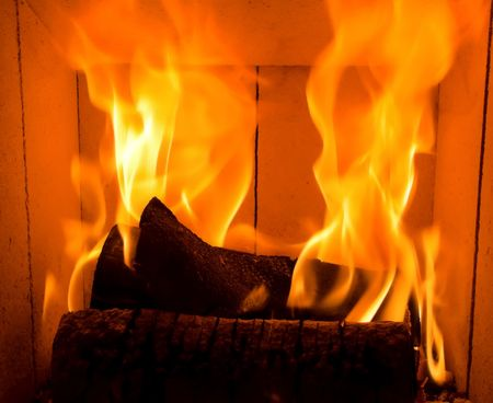burning logs in home fireplace, high flames Stock Photo - 926108