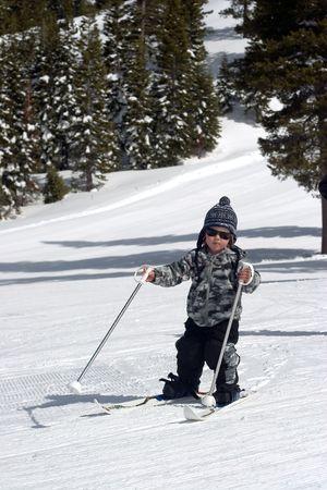 tahoe: Little Boy Skiing Downhill