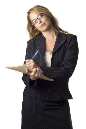 dressed for success: Business woman in different poses and props isolated on white.
