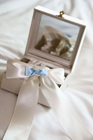 one item: White and Blue Garter senting in a Mirrored box. Stock Photo