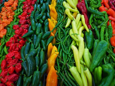 lots of hot peppers on display at the farmers market