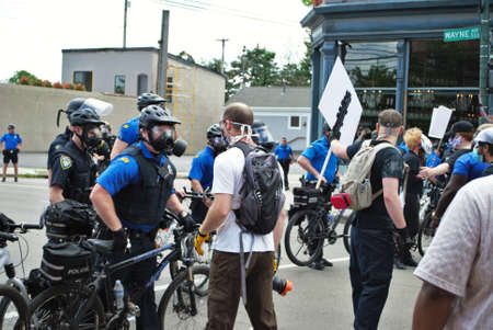 Dayton, Ohio United States 05/30/2020 police and SWAT officers controlling the crowd at a black lives matter protest